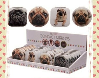 Pug compact mirror for your handbag or make up bag