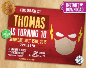 The Flash Invitation - EDITABLE TEXT - Customizable Superhero Printable Birthday Party Invite Flash Superheroes - Instant Download