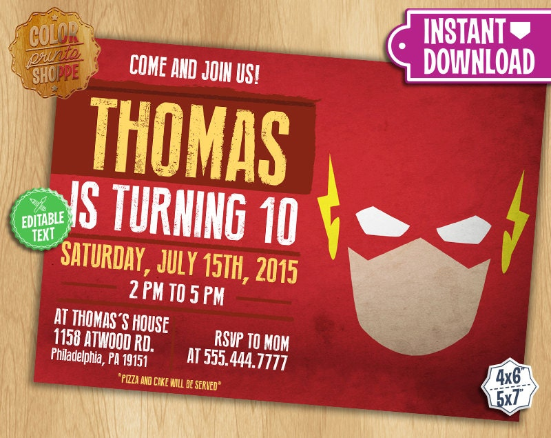 The Flash Invitation EDITABLE TEXT Customizable Superhero