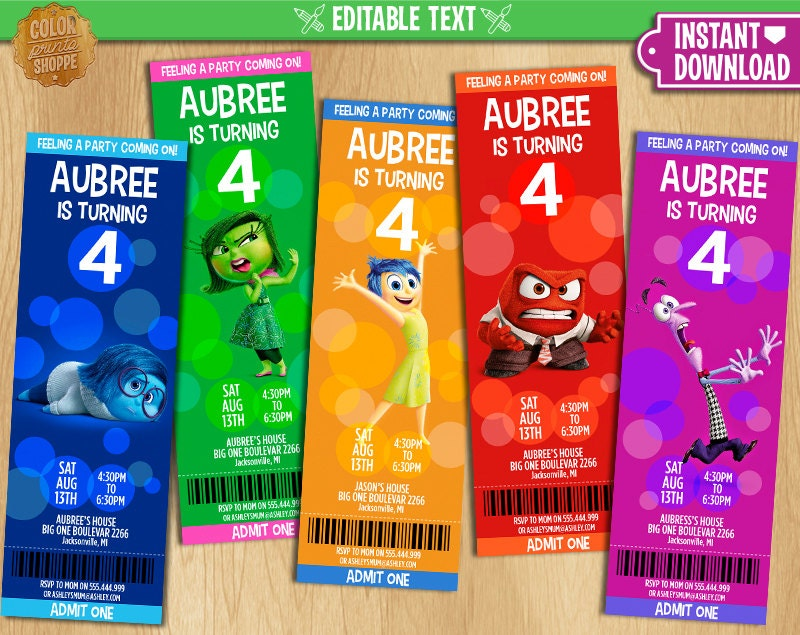Inside Out Ticket Invitation EDITABLE TEXT Printable - Birthday invitations inside out