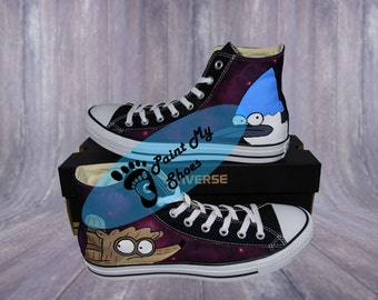 Regular Show, Mordecai, Rigby, converse, hand painted shoes, tv shoes, free shipping in the US