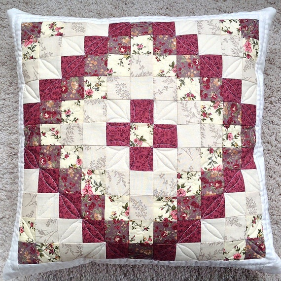 Diy Quilted Throw Pillow : Quilted pillow decorative pillow red floral pillow