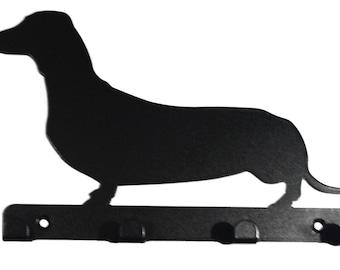 Dachshund (Sausage Dog) Silhouette Key Hook Rack - metal wall art