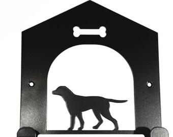 Labrador in Kennel House Silhouette Dog Lead Holder Hooks Rack - metal wall art
