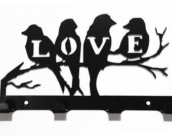 Love Birds Sitting on Branch Silhouette Key Hook Rack - metal wall art