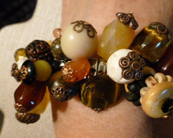 Spandex Bracelet #71 by Tricia Large Golden Quartz,Carved Bone,Copper