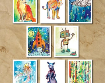 Watercolor Print Note Cards