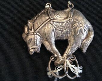Vintage silver asian boar charm pendant
