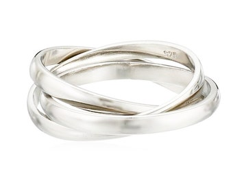 Season Sale !!! Sephla 925 Sterling Silver Plated Interlocking Ring