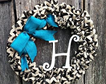 Monogram Burlap Chevron Wreath Door Hanger Burlap Bow