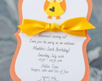 Kids Birthday Invitation, Girl Birthday Invitation, Kids Birthday Party Invitations, Amber, Custom, Ribbon, Envelope