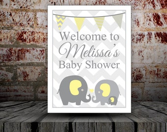 Welcome Sign/Yellow Elephant/Baby Shower