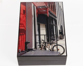 Large Keepsake Box, Soho, New York City, Red Fire Escape,Wood Keepsake/Memory Box, Signed Art, Deborah Julian