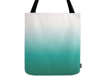 Gradient tote bag teal gradient bag teal ombre tote bag black ombre bag teal bag black and white tote bag teal canvas tote bag teal summer