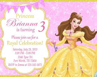 Princess Belle Invitation, Princess Belle Birthday, Princess Belle Party