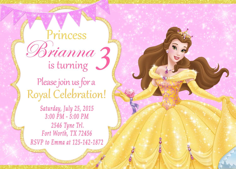 Princess Belle Invitation Princess Belle Birthday Princess