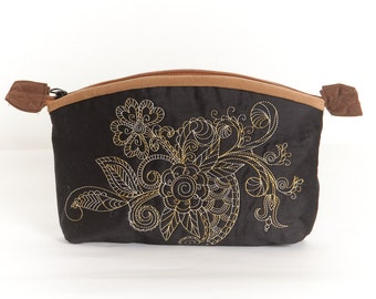 Super big zipper bag bag toilet bag with henna embroidery with soft Fawn lining, rustic dreamy, hippy and Gothic