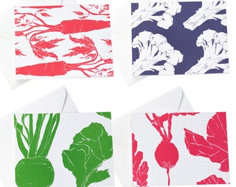 Veggie Dots Collection/Veggie Cards/Carrot/Cauliflower/Radish/Beet/Vegetable Garden Cards/Everyday/Just Because/Letterpress
