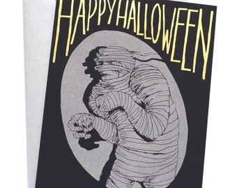 Mummy Halloween Card/Halloween/Black And Gold Halloween Cards/Gold Foil Halloween Cards/Movie Monster/Mummy