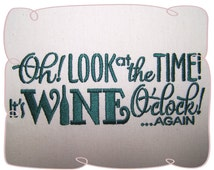 Wine Time Saying Machine Embroidery Design Pattern-INSTANT DOWNLOAD