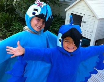 Custom Made Child Blue Blu OR Jewel Colored Macaw Bird Inpired By Rio Halloween Costume