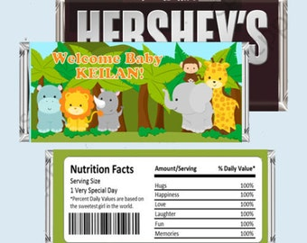 Jungle Safari Candy Bar Wrapper, Hershey Bar Wrappers DIY PRINTABLE