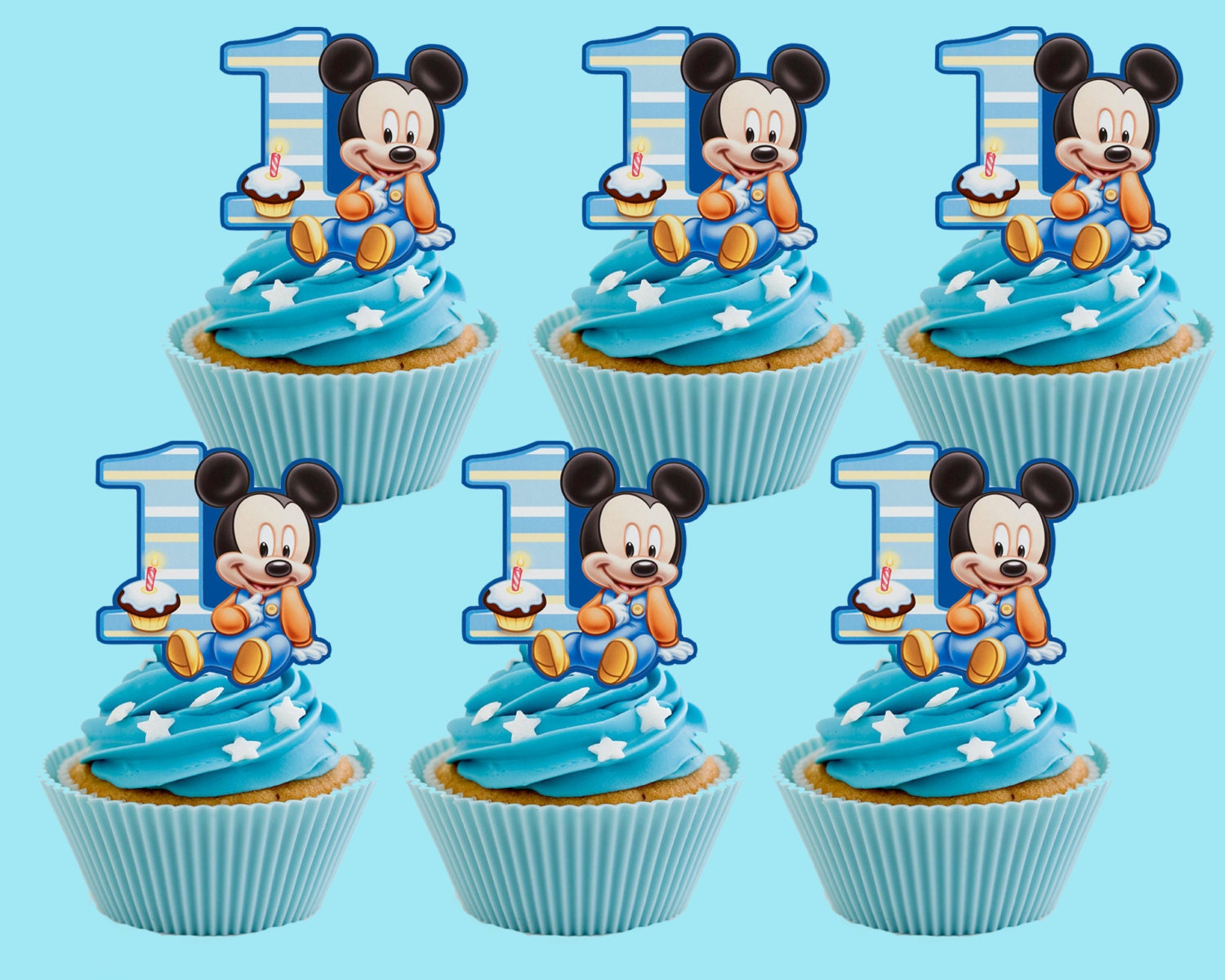 Baby Mickey Mouse Cupcake Toppers Cupcake Pick PRINTABLE YouMickey Mouse Cupcake Toppers
