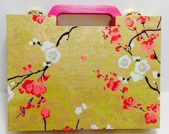 Cherry Blossom -- wooden purse