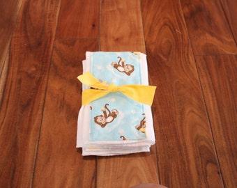 Set of 3 Monkey Diaper Burp Cloths