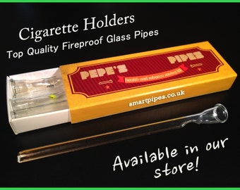 Pepe's Pipes Box of 4 Strong Handmade Glass Cigarette Holder Smoking Pipes