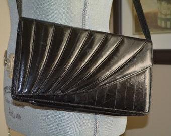 Clutch, Baguette, Black Handbag, Eel Skin, Evening Bag, Flap, Classic Bag, Purse, Pocketbook, Handbag, Puttin' on the Ritz