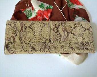 Alfani Clutch, Designer Handbags, Baguette, Beige, Snake Skin, Leather Clutch, Suede, Brown Beige, Envelope BagHandbag, Purse, Pocketbook