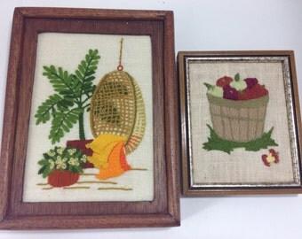 Set of 2 Vintage Embroidered Framed Pictures