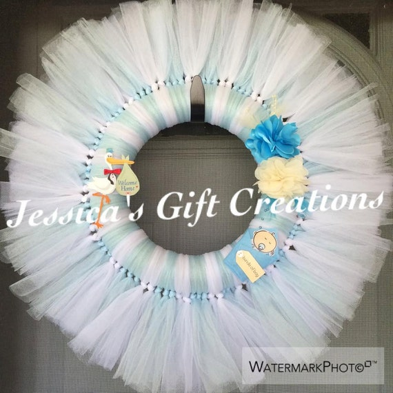 Items similar to baby boy tulle wreath baby shower gift for Baby boy door decoration