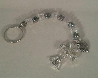 clear and torqouise swarovski keychain with crystalized austrian cross