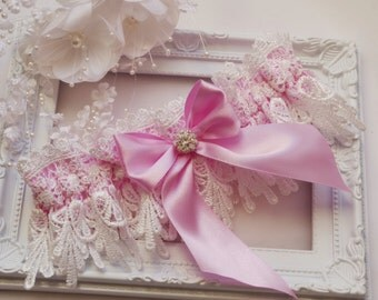 Pink Wedding Garter Bridal Garter Lingeri Garters Bridal Garters Venice Wedding Lace pink garter set bridal accessories ivory wedding garter