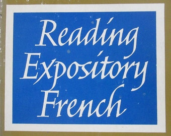 FREE Shipping 1965 Reading Expository French Book Vintage French Language Book Paperback