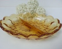Sale - Vintage Indiana Amber Glass Divided Candy Dish