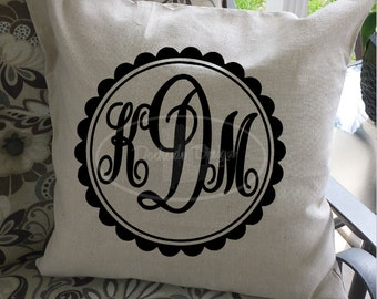 Framed Monogram Initial Pillow Cover, 100% Cotton, 20x20, Choice of Colors!!
