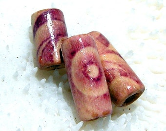 Purple and Beige Wood Beads, Handmade Beads, Tube Beads 008