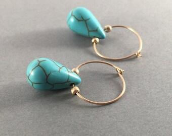 Gold hoops, Turquoise hoop earrings, Gold drop earrings, Everyday earrings, Small gold hoop earrings, Turquoise dangle earrings,