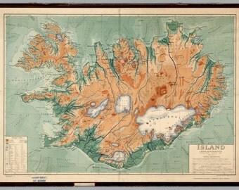 Iceland Map Poster (1928) | Wall decor