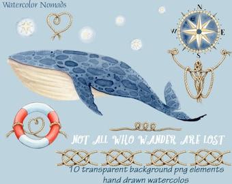 Whale Clipart, Watercolor clipart, Watercolor whale, nautical clipart, sailors knots, compass rose, digital clipart, instant download