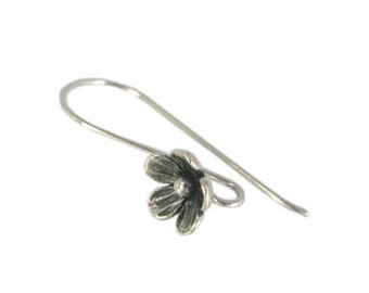 Handmade Oxidized Sterling Silver Flower Ear Wire - 1 pair