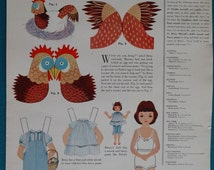 """Original Betsy McCall Paper Doll Magazine Page Titled """"Betsy McCall Decorates An Egg"""" From a 1955 Issue of McCall's Magazine"""