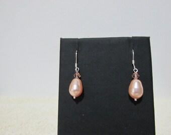 Pale Peach Swarovski Teardrop Shaped Pearl Earrings