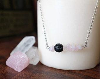 Rose Quartz and Lava Rock Essential Oil Diffuser Necklace or Bracelet