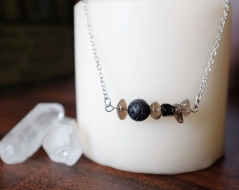 Smoky Quartz and Lava Rock Essential Oil Diffuser Necklace or Bracelet