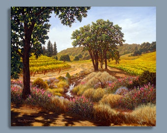 "Art print on canvas or paper ""July's Promise"", landscape art, vineyard paintings, realism, California scenery, oil painting, wine country"