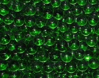 "One Pound Of New Transparent Emerald Glass Marbles (9/16"" +/-). Great For Decorating, Crafts, Games And Collecting."